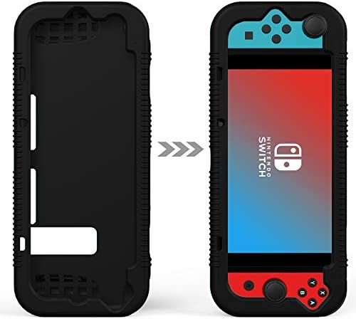 Semeving Compatible with Nitendo Switch Case,Soft Silicone Protective Cover Case Compatible with Nintendo Switch, Shock-Absorption & Anti-Scratch … (Black)
