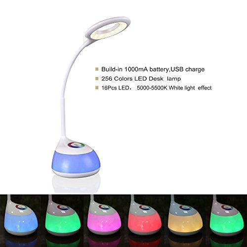 HIHIGOU Bunte Dimmbare Schreibtischlampe LED Tischlampe 3 Helligkeitsstufen (Lesen, Lernen, Entspannung ) Flexibles Arm Touchfeldbedienung mit USB-Anschluss modern tischleuchte LED (weiß)
