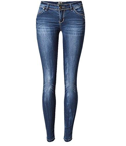 Hubingrong color Delgado Pantalones Moda Mujeres Baja Elástica Las Tamaño Un De Drift Mezclilla Diseño Cintura Lightning Size Xs Tie Wash Blue Gran Blue Tienen H7rqHv