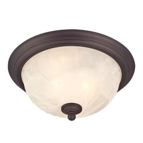 (Westinghouse Lighting 6230900 Naveen Two-Light Flush-Mount Exterior Fixture, Oil Rubbed Bronze Finish on Steel with White Alabaster Glass)