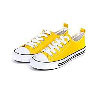 Emma Shoes Women's Sneakers Casual Canvas Shoes, Low Top Lace up Cap Toe Flats - True to Size Yellow, 6