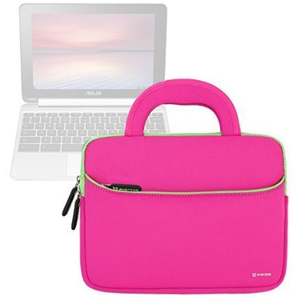 Evecase ASUS Chromebook Flip C100PA 10.1 Inch Touch Chromebook Sleeve Case, Neoprene Slim Briefcase w/Handle & Accessory Pocket/Ultra Portable Carrying Case Portfolio Pouch Cover - Hot Pink
