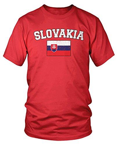Amdesco Men's Slovak Flag, Flag of Slovakia T-Shirt, Red -