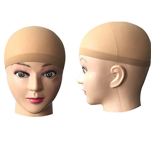 [TRIXES Beige Nylon Hair Socking Bald Cap for Wigs Pack Of 2] (Bald Wig Cap)