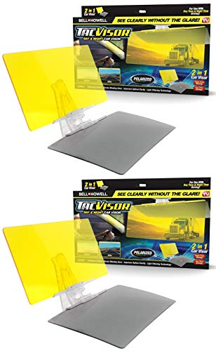 Bell + Howell TACVISOR for Day and Night, Anti-Glare Car Visor, UV-Filtering/Protection As Seen On TV (Set of 2) ()