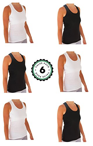 Womens Tank Tops, Basic Cotton Camisole Ribbed Racerback Tank Top Assorted Colors (6 Pack) (Small, 3 black / 3 White)