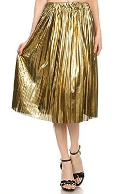 MeshMe Womens Angelica - Metallic Foil Pull-On Pleated Midi Skirt