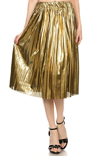 MeshMe Womens Angelica - Gold Yellow Metallic Foil Shiny Glimmer Stretchy Pull-On Elastic Waistband Skater Girl Rock Music Concert Halloween Costume Retro Vintage A-Line Pretty Pleated Midi Skirt