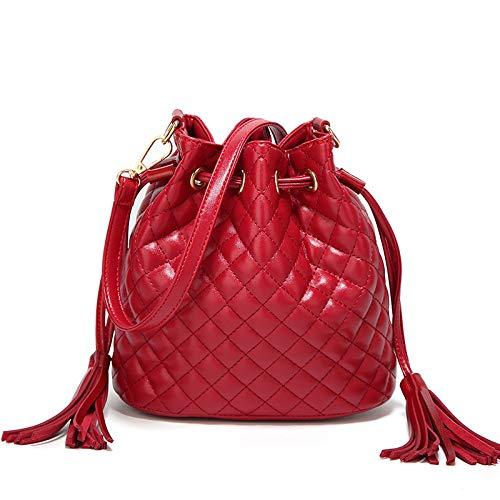 Moda negro La Hombro Diagonal Mujer Bolso Flecos Tamaño un Fjthy Rojo De Ua7HxwSpp