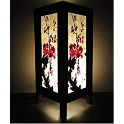 Thai Vintage Handmade ASIAN Oriental Japanese Sakura Cherry Blossom Tree Branch Art Bedside Table Lamp Copter Shop