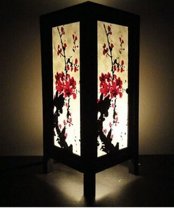 Thai Vintage Handmade ASIAN Oriental Japanese Sakura Cherry Blossom Tree Branch Art Bedside Table Lamp By Copter (Mirror Nova Art)
