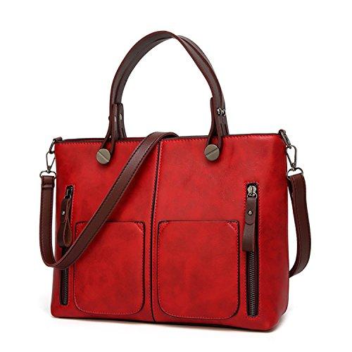 Women Shoulder Bag Female Causal Totes For Daily Shopping All-Purpose Dames Handbag,Red,China