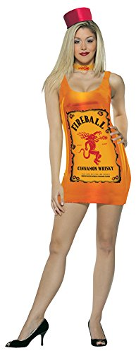 Womens Halloween Costume- Fireball - Bottle Tank Dress Adult Costume