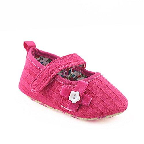 Omiky® Neugeborene Säuglings-Baby-Mädchen-Bogen-Blumenkrippe-Schuh-weiche alleinige Anti-Rutsch-Turnschuhe Heißes Rosa