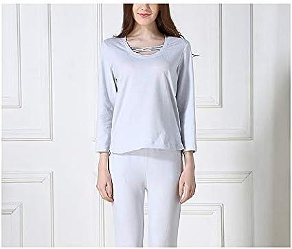Pijamas Mujeres Ropa de Dormir de algodón de Color Pijamas para Mujer Conjunto Cuello Redondo Ropa Interior Transpirable Pijama S Camisa + Pantalones: Amazon.es: Ropa y accesorios