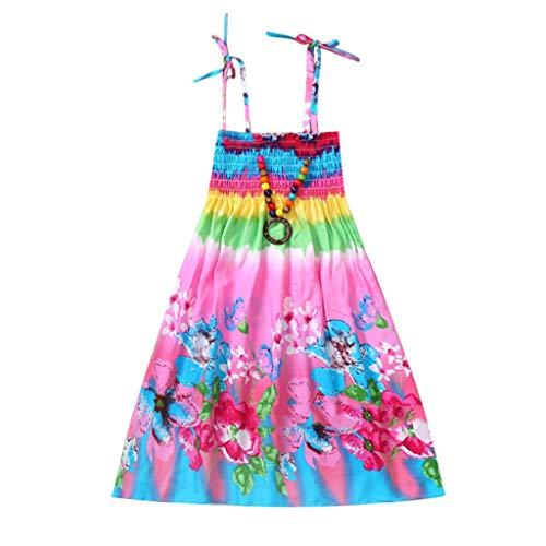 Price comparison product image Mysky Fashion Kids Baby Girls Popular Sweet Bohemian Floral Rainbow Print Stretch Casual Beach Sling Dress