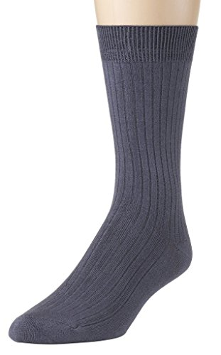 Sportoli Men's Super Soft Modal Ribbed Lightweight Dress Crew Socks - Grey (13-15) ()