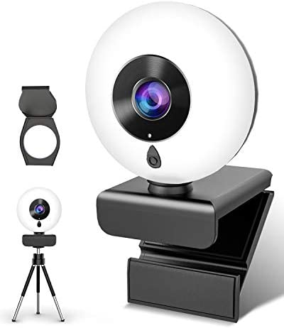 2K Webcam with Microphone Ring Light-HD Computer Camera with Privacy Cover & Tripod,Pro Streaming Web Cam for PC/MAC/Desktop/Laptop,USB Web Camera for YouTube, Skype, Zoom,Xbox One and Video Calling