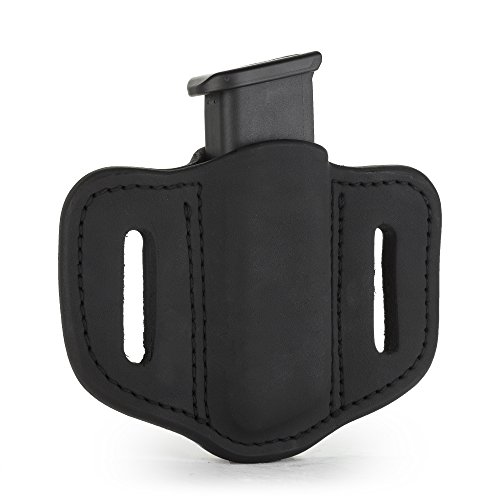 1791 GUNLEATHER Single Mag Holster for Double Stack Mags, OWB Magazine Pouch for Belts Available in Stealth Black, Classic Brown, Black & Brown and Signature Brown (Stealth Black)