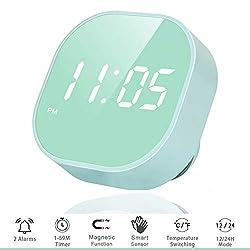 OUTWIT Digital Alarm Clock for Bedroom, Multi-Functional LED Smart Sensor Alarm Clock for Kids, Dual Alarm, Battery Backup with Temperature Countdown Timer, Compact Clock for Desk Bedside Home Kitchen