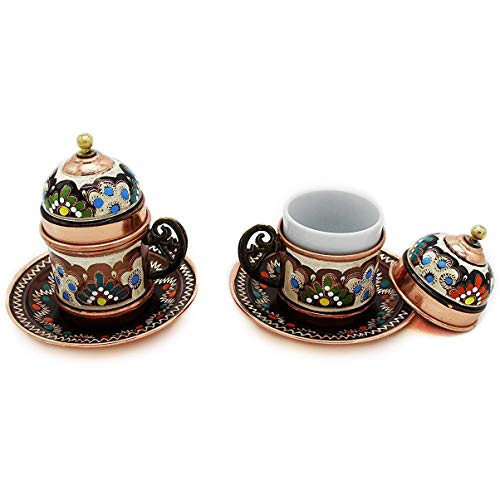 Copper Turkish Coffee Cups with Saucer and Lid (Set of 2) (Set Dinnerware Coffee Cup)