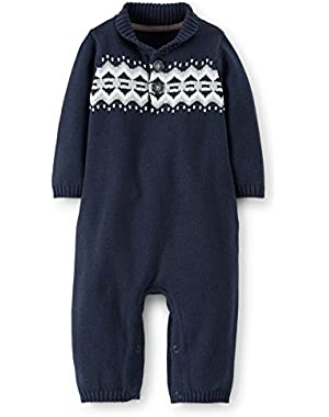 Carters Infant Boys Blue Knit Coverall Jumpsuit