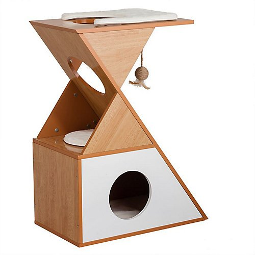 Elegant Home Fashions Tri Cat Cuddle House in White and Natural Finish