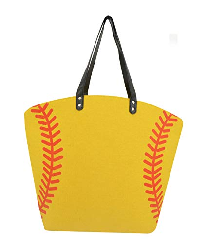 (Elfjoy Women's Oversized Large Baseball Canvas Cotton Sports Tote Bag & Baseball Earrings Studs Sports Prints Utility Tote Beach Shoulder Bags (Softball))