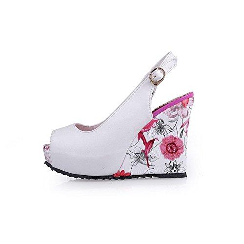 AllhqFashion Womens Peep Toe Metal PU Solid High-Heels Sandals White 9dZeQml