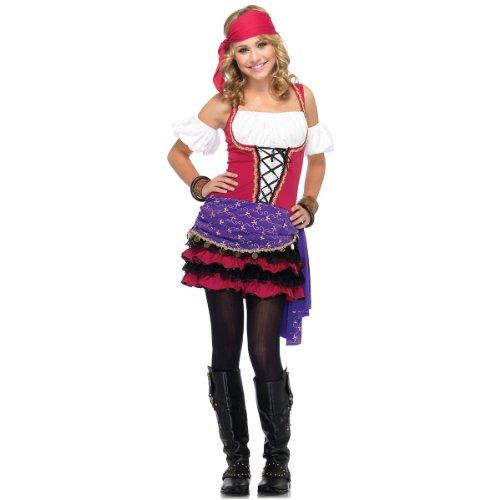 Leg Avenue Junior's 3 Piece Crystal Ball Gypsy Costume, Pink/Purple, Small/Medium