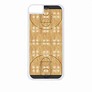Basketball Court- Case for the Apple Iphone 5/5s-Hard White Plastic Outer Shell with Inner Soft Black Rubber Lining