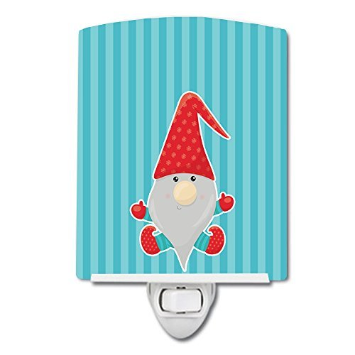 Caroline's Treasures Merry Christmas Ceramic Night Light, Gnome #2, Blue, 6'' x 4''