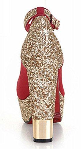 Idifu Mujeres Sequins Chunky High Heels Plataformas Bombas Zapatos Tobillo Correa Roja