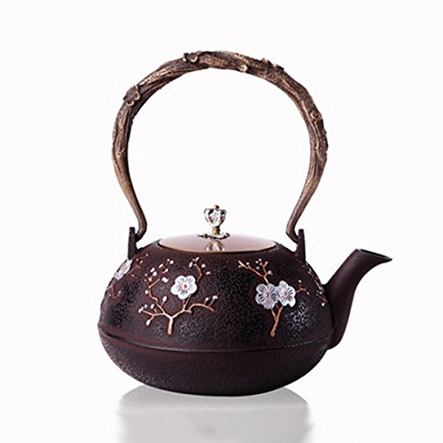 Toogoo Chinese Style Cast Iron Plum Blossom Teapot Floral Ha