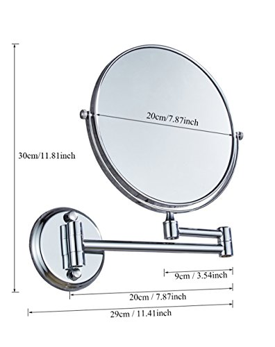 Ysayc Vanity Mirror Double-sided 3x Magnification Wall Mounted Hanging 360° Swivel Bath Spa Hotel Round Bathroom Cosmetic Mirror wall-mounted-mirrors, Silver by Ysayc (Image #4)