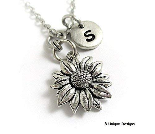Flowers Clasp Necklace Metal (Daisy Garden Flowers Necklace Gardener Personalized Initial Jewelry Silvertone, Stainless Steel or Sterling Silver Chain)