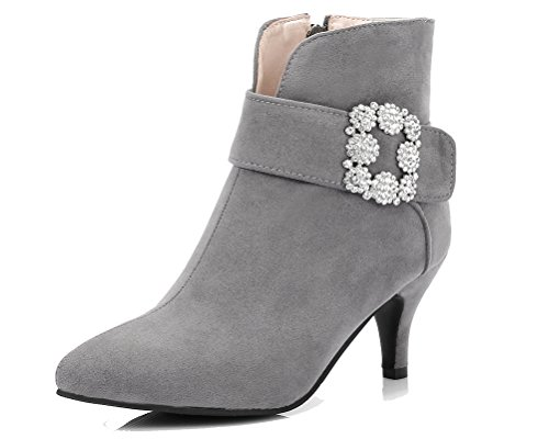 HiTime Ladies Charmingly Rhinestones Casual Shoes Pointed Toe Zip Boots Kitten Heels Office Short Boots Grey