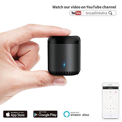 BroadLink IR Control Hub Work with Amazon Alexa, RM Mini3 Smart Home Wi-Fi Enabled Infrared Universal Remote Control, One for All Control TV PVR VDO DVD CD AUD SAT ( Black Bean RMMINI3-EN )