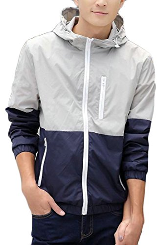 Packable Wading Jacket - XTX Men's Zipper Lightweight Waterproof Contrast Color Hooded Sun-Protect Casual Jacket Blue XXS