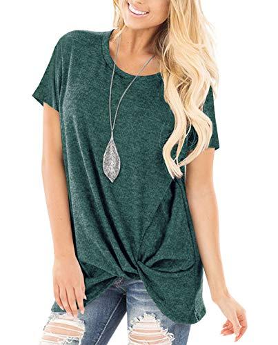 ZILIN Women's Cold Shoulder T-Shirt Long Sleeve Knot Twist Front Tunic Tops (WW-Green, S)