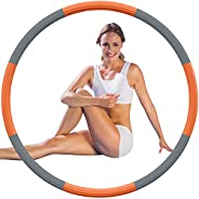 Aioweika Fitness Weighted Exercise Removable Hoops, Hoop for Adults, for Kids, 8 Detachable Sections, Adjustab