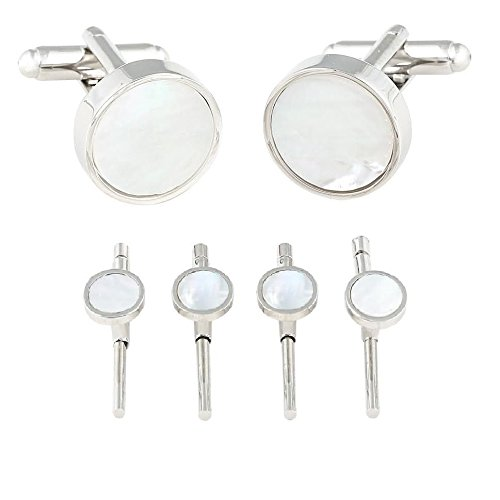 Cuff-Daddy Mens Mother of Pearl Silver Spring Back Cufflinks and Studs Formal Set with Presentation Box