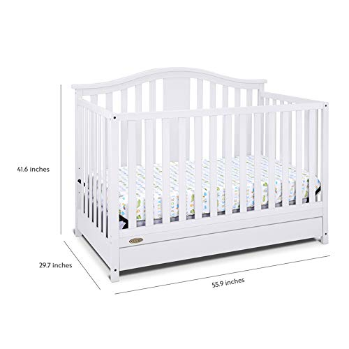 411y15S7HJL - Graco Solano 4-in-1 Convertible Crib With Drawer, White, Easily Converts To Toddler Bed Day Bed Or Full Bed, Three Position Adjustable Height Mattress, Some Assembly Required (Mattress Not Included)