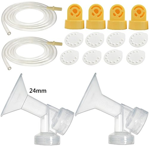 (Nenesupply Compatible Pump Parts for Medela Pump in Style Breastpump PISA 2 Medium 24mm Breastshield 4 Valve 8 Membrane 2 Tubing Not Original Medela Pump Parts Not Original Medela Pumpinstyle Parts)
