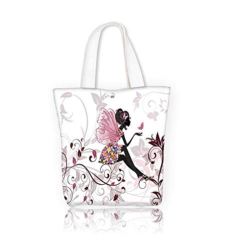 Canvas Tote Bag Girls Flower Fairy With Butterflies Wings BranchesOrnamental Floral Spring Forest Zipper Closure Grocery Shopping Bag for Women Girls Students W16.5xH14xD7 INCH - Bag Tote Flower Canvas Girl