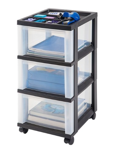 IRIS 3-Drawer Cart with Organizer Top (White) by IRIS USA, Inc.