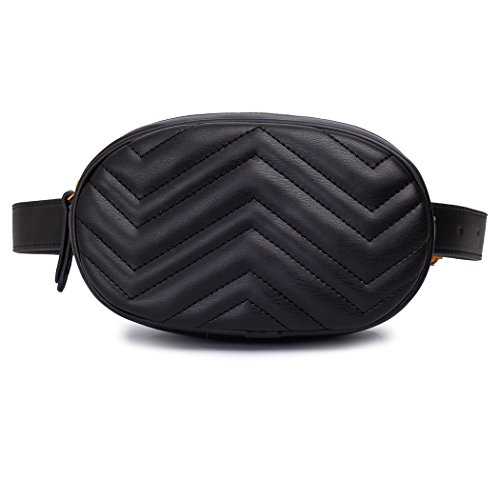Women Belt Bag Black Waist Belt Bag Fanny Pack Red With Chevron Pattern Black