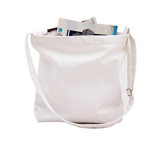 DZT1968 Women Girls Canvas Shopping Handbag Shoulder Tote Shopper Crossbody Bag (White) (White Bag Tote Canvas)