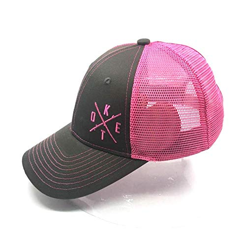 - Keto Essentials Stupid Simple Keto Hat Limited Edition Women's High Ponytail Hole For Messy Bun or Pony. Pink on Denim Mesh Trucker Baseball Cap With Snapback, Adjustable for Universal Fit