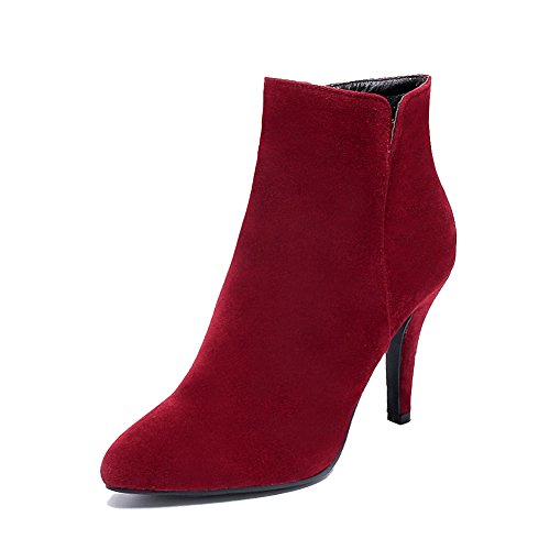 Pointed Boots Claret Toe Heels Low High Closed AgooLar Women's Solid Frosted top gSqw55xT